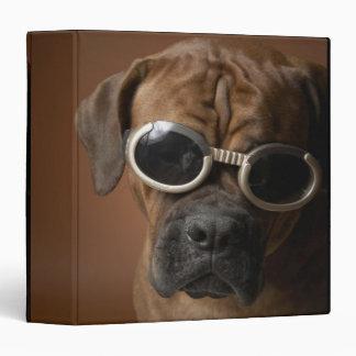 Dog wearing sunglasses 3 ring binders
