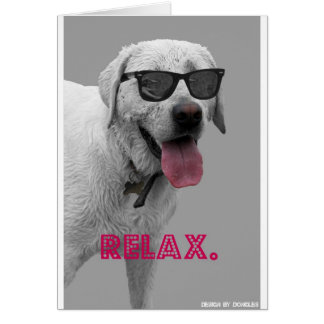 Dog wearing sunglasses greeting card