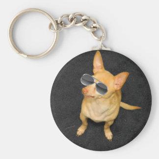 Dog wearing sunglasses keychain