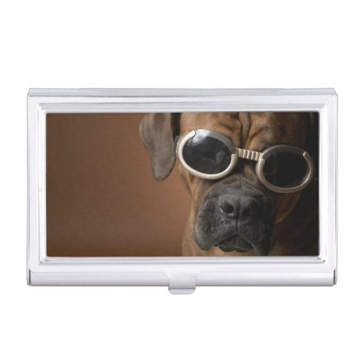 Dog wearing sunglasses business card holder