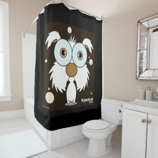 Dog (White, Black Bg) Shower Curtain