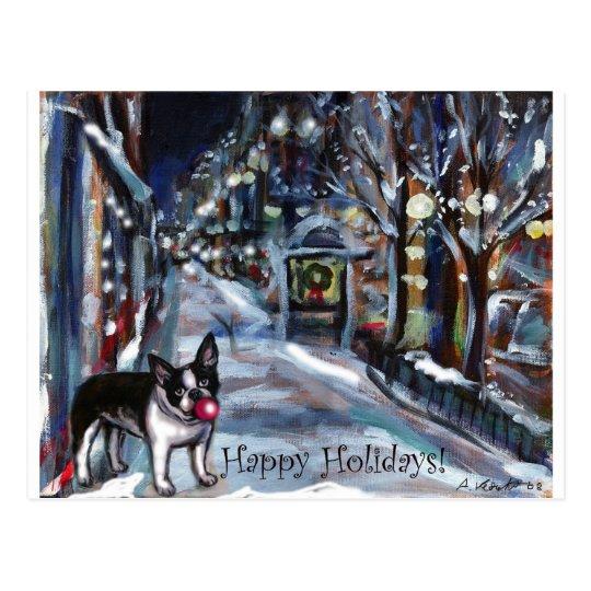 Dog Winter Xmas holiday scene Postcard