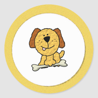 Dog with a Bone Round Sticker