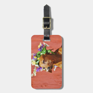 Dog with a traditional floral wreath to the Mi Luggage Tag