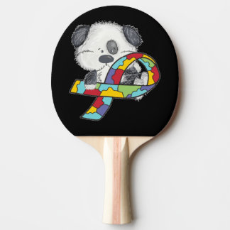 Dog With Autism Awareness Ribbon Ping Pong Paddle