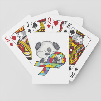 Dog With Autism Awareness Ribbon Playing Cards