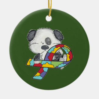 Dog With Autism Awareness Ribbon Round Ceramic Ornament