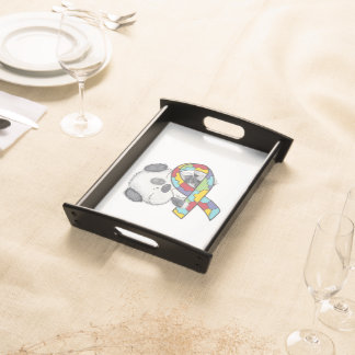 Dog With Autism Awareness Ribbon Serving Tray