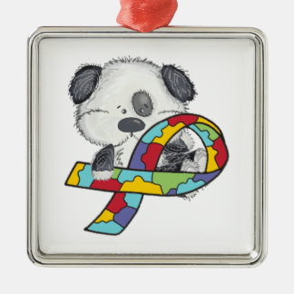 Dog With Autism Awareness Ribbon Silver-Colored Square Ornament