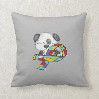 Dog With Autism Awareness Ribbon Throw Pillow