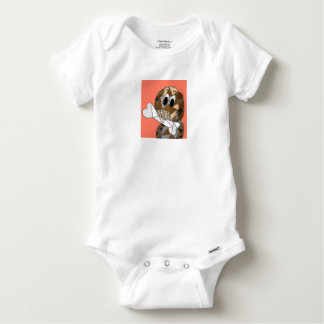 dog with bone baby onesie