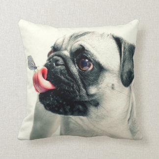 Dog with Butterfly Throw Pillow