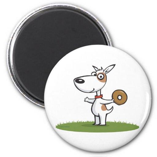 Dog with Donut Fridge Magnets