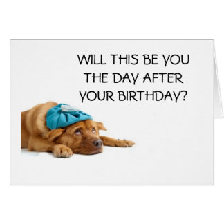 DOG WITH HANGOVER HUMOROUS 50TH CARD