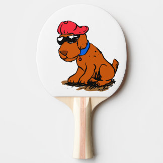Dog with hat and glasses ping pong paddle