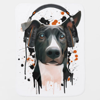 Dog with headphones. music lover baby blanket