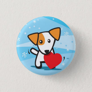 dog with heart in snow 1 inch round button