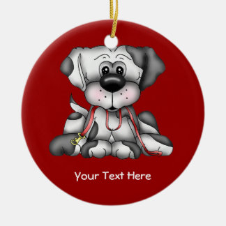 Dog With Leash (Customizable) Ceramic Ornament