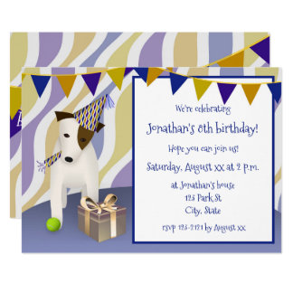 dog with party hat blue boy's birthday party card