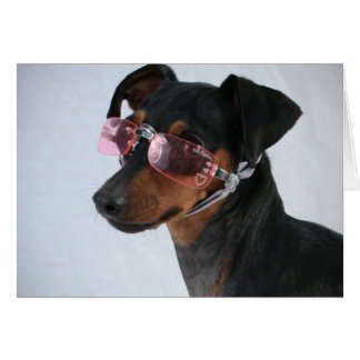 Dog With Pink Sunglasses Greeting Card