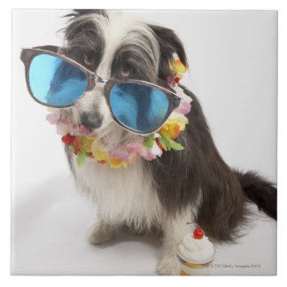 Dog with sunglasses and parfait ceramic tile