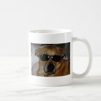 Dog with sunglasses classic white coffee mug