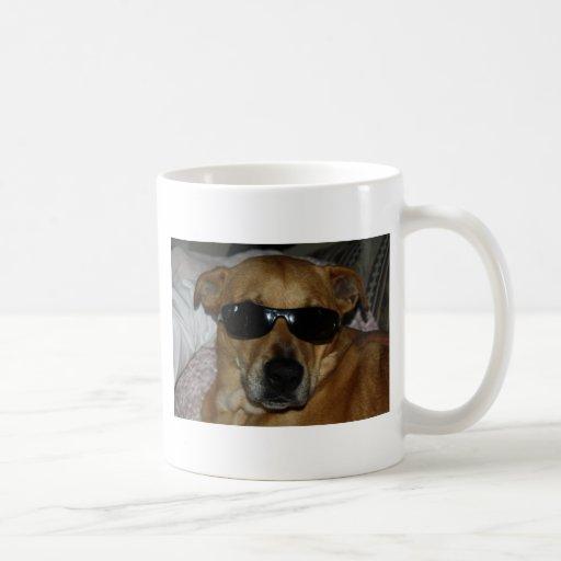Dog with sunglasses mug