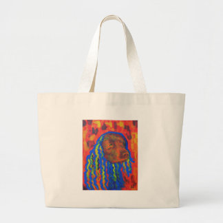 Dog with Wild Funny Colorful Hair Large Tote Bag