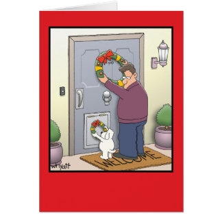 Dog Wreath Funny Christmas Card