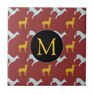 Dog Year 2018 Zodiac Birthday Monogram Tile
