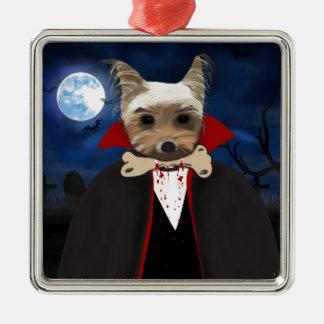Dogcula Silver-Colored Square Ornament