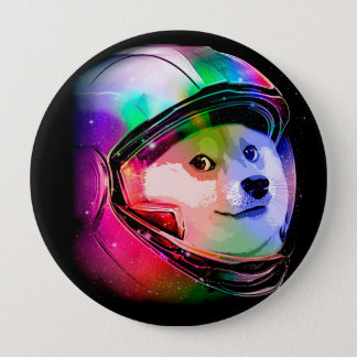Doge astronaut-colorful dog - doge-shibe-doge dog 4 inch round button