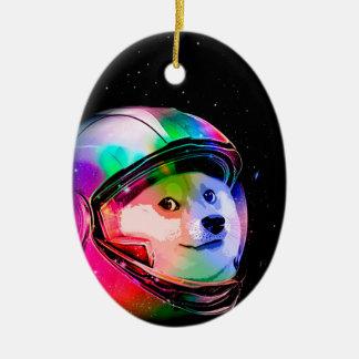 Doge astronaut-colorful dog - doge-shibe-doge dog ceramic ornament