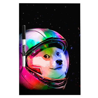 Doge astronaut-colorful dog - doge-shibe-doge dog dry erase board