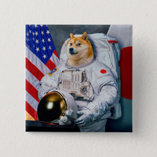 Doge astronaut-doge-shibe-doge dog-cute doge 2 inch square button