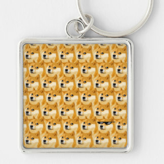 Doge cartoon - doge texture - shibe - doge Silver-Colored square keychain