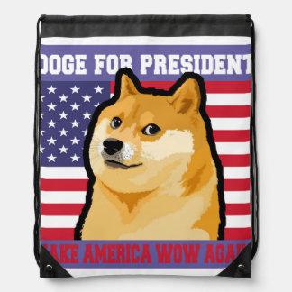 Doge president - doge-shibe-doge dog-cute doge drawstring bag