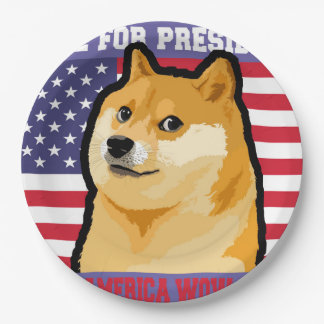 Doge president - doge-shibe-doge dog-cute doge paper plate