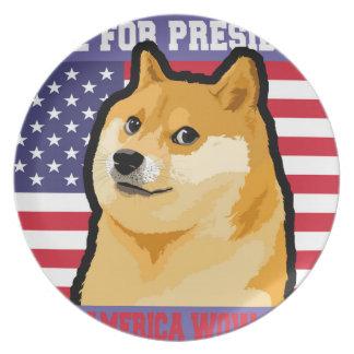 Doge president - doge-shibe-doge dog-cute doge plate