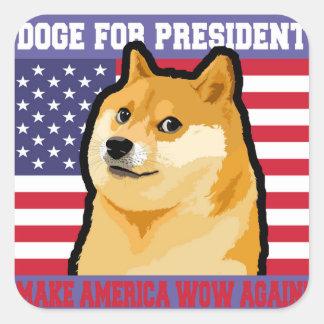 Doge president - doge-shibe-doge dog-cute doge square sticker