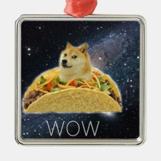 doge space taco meme metal ornament