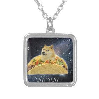 doge space taco meme silver plated necklace