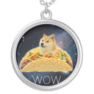 Doge taco - doge-shibe-doge dog-cute doge silver plated necklace