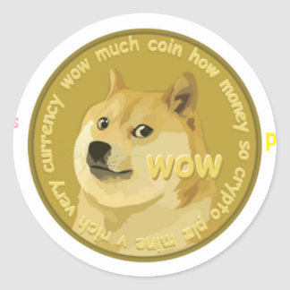 Dogecoin accessories- The Chatty Shiba Inu Round Sticker