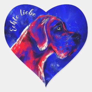 Doggenaufkleber red blue heart heart sticker