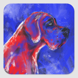 Doggenportrait red blue Dogge decay Square Sticker