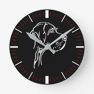 Doggenuhr with minute line black red round clock