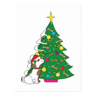 Doggie Christmas Tree Postcard