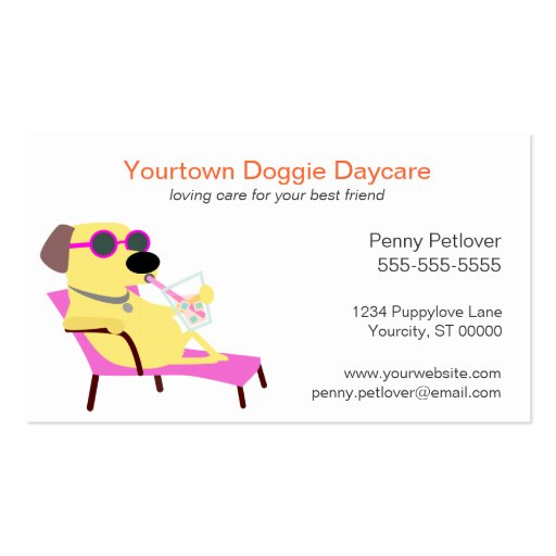Doggie Day Care Business Card Business Card Template
