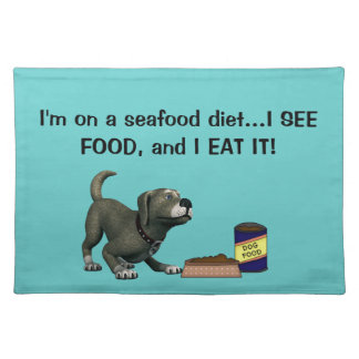 Doggie Humor-Cute Dog+Dog Food and Bowl Placemat